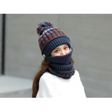 3 in 1 Knitted Ladies Hat, Scarf with Detachable Mask