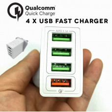 4 x USB Fast Wall Charger Qualcomm 3.0