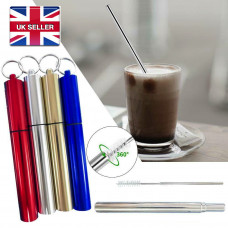 Telescopic Reusable Collapsible Stainless Steel Drinking Straw with Brush & Storage Case