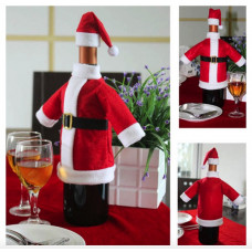 Christmas Santa Suit Wine Bottle Cover and Hat